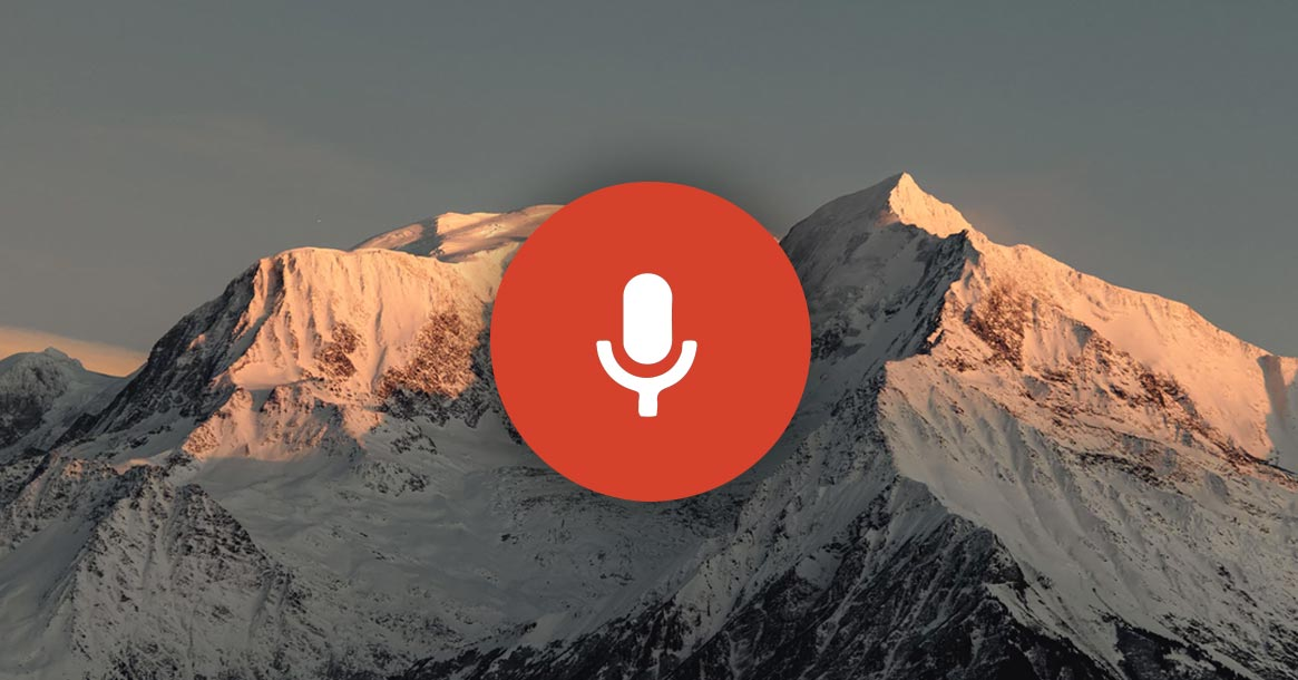 microfoon icoontje met bergen op de achtergrond