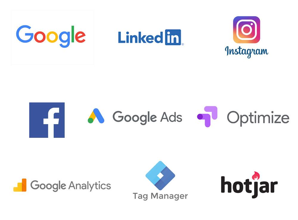 logo's van onderdelen van online marketing