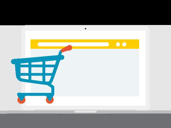 laptop met webshop voorbeeld